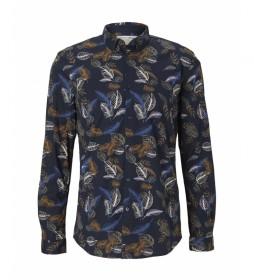 Camisa 1026871 azul oscuro, floral
