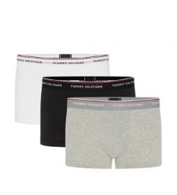 Pack de 3 Boxers LR Trunk blanco, negro, gris