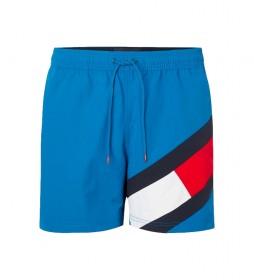 Bañador Largo Medio con Diseño Color Block azul
