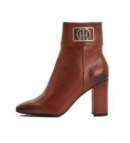 Botines de piel Hardware Square Toe Heel marrón -Altura tacón:8,8cm-