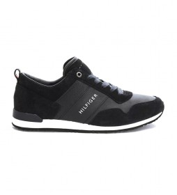 Zapatillas de piel Iconic Leather Suede Mix Runner marino, blanco