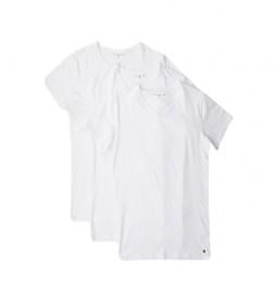 Pack de 3 Camisetas Stretch V Neck  blanco
