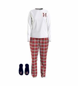 Pijama Gifting blanco, rojo