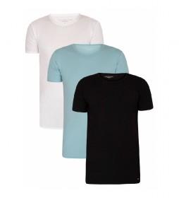 Pack de 3 Camisetas 2S87905187 blanco, negro, azul turquesa