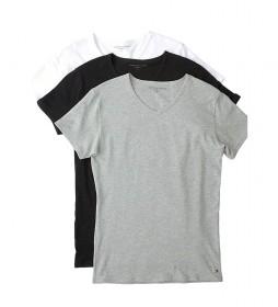 Pack de 3 Camisetas Stretch V Neck negro, gris, blanco