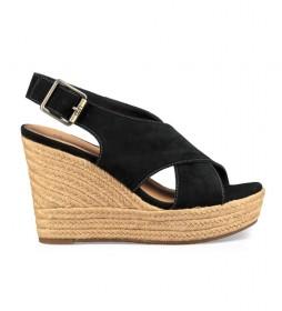 Sandalias de piel Harlow negro  -Altura cuña: 10cm-