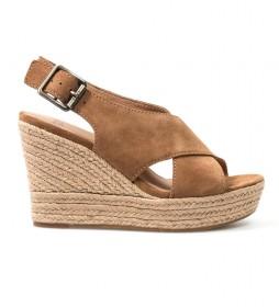 Sandalias de piel Harlow marrón -Altura cuña:10,5cm-