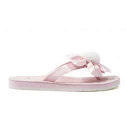 Flip-flop de piel Poppy rosa