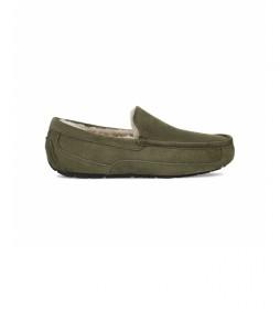 Zapatillas de casa de piel Ascot verde oliva