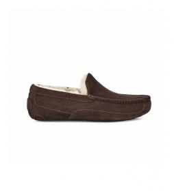 Zapatillas de casa de piel Ascot  marrón