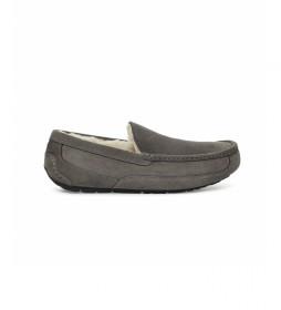 Zapatillas de casa de piel Ascot gris