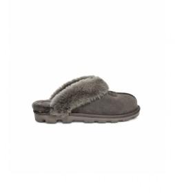 Pantuflas de piel Coquette gris