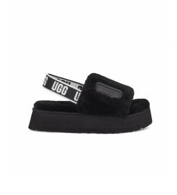 Pantuflas de piel Disco Slide negro
