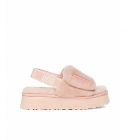 Pantuflas de piel Disco Slide rosa