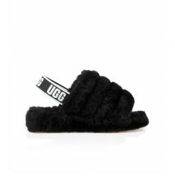 Pantuflas de piel  Fluff Yeah Slide negro