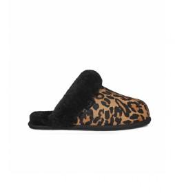 Pantuflas de piel Scuffette II animal print, negro