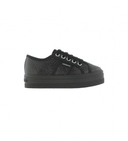 Zapatillas Barcelona Lona Metalizada negro