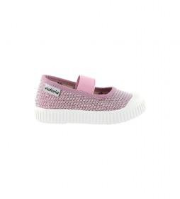 Sandalias Lona Velcro rosa