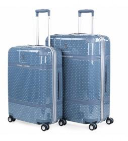 Juego de 2 maletas Lunares 80100 azul - 44x64x25cm -