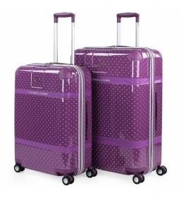 Juego de 2 maletas Lunares 80100 lila - 44x64x25cm -