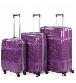 Juego 3 trolleys 3 80105 malva -50x75x31cm-