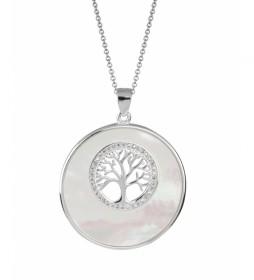 Colgante Essentials árbol de la vida óvalo madre perla plata