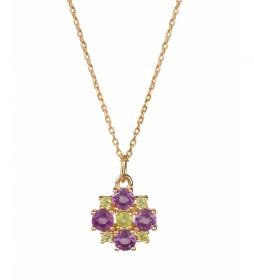 Colgante Lola Oro flor Amatista y peridot
