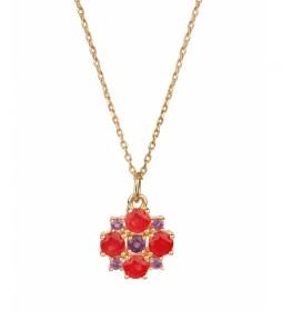 Colgante Lola Oro flor Jade rojo y amatista