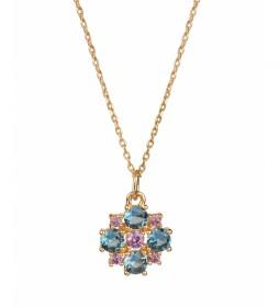 Colgante Lola Oro flor spinel azul y violeta