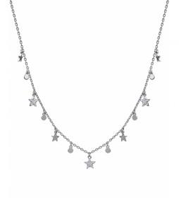 Collar Candy Plata estrellas circonitas y círculos plata