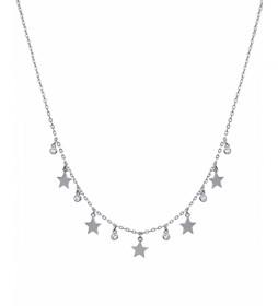 Collar Candy Plata estrellas lisas circonitas plateado