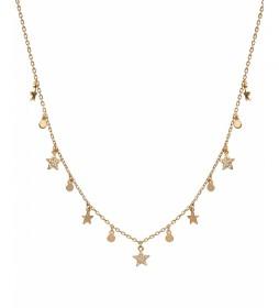 Collar Candy Plata estrellas circonitas y círculos dorado