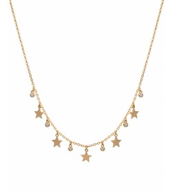 Collar Candy Plata estrellas lisas circonitas dorado