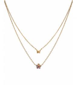 Collar Candy Plata flor circonitas multicolor y mariposa dorado
