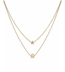 Collar Candy Plata flor circonitas y estrella lisa dorado