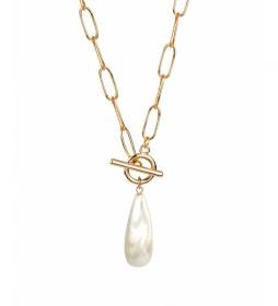 Collar Essentials perla irregular oro 18kts
