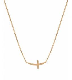 Collar Essentials Plata cruz cadena dorado
