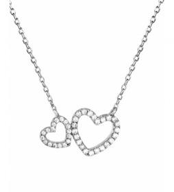 Collar Essentials corazones circonitas plata