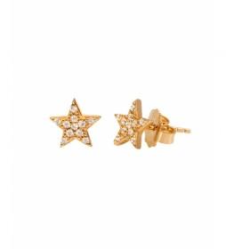 Pendientes Candy Plata estrella circonitas dorado