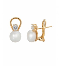 Pendientes Essentials midi perla oro 18 Ktes
