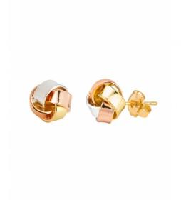Pendientes Essentials nudo tricolor oro 18Ktes