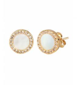 Pendientes Essentials madre perla redondos 18Ktes