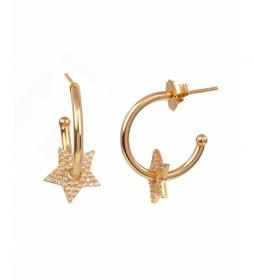 Pendientes Essentials Oro aro estrella calada circonitas dorado