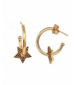 Pendientes Essentials Oro aro estrella calada circonitas negras dorado