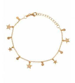 Pulsera Candy Plata estrellas circonitas círculos dorado