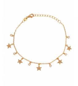 Pulsera Candy Plata estrellas lisas circonitas dorado