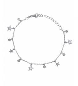 Pulsera Candy Plata circonita estrellas círculos plateado