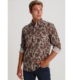 Camisa manga larga Estampado Paisley marrón