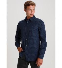 Camisa Popelin Mini Print marino