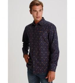 Camisa Popelin Elastico  azul marino